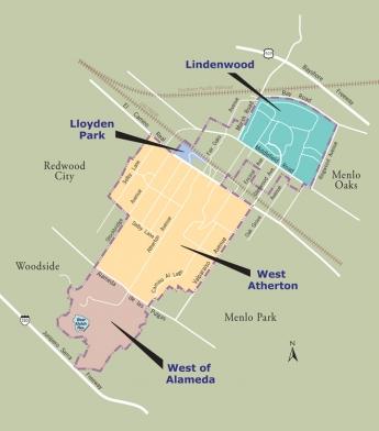 Neighborhoods news palo alto online a map of the atherton neighborhoods gumiabroncs Image collections