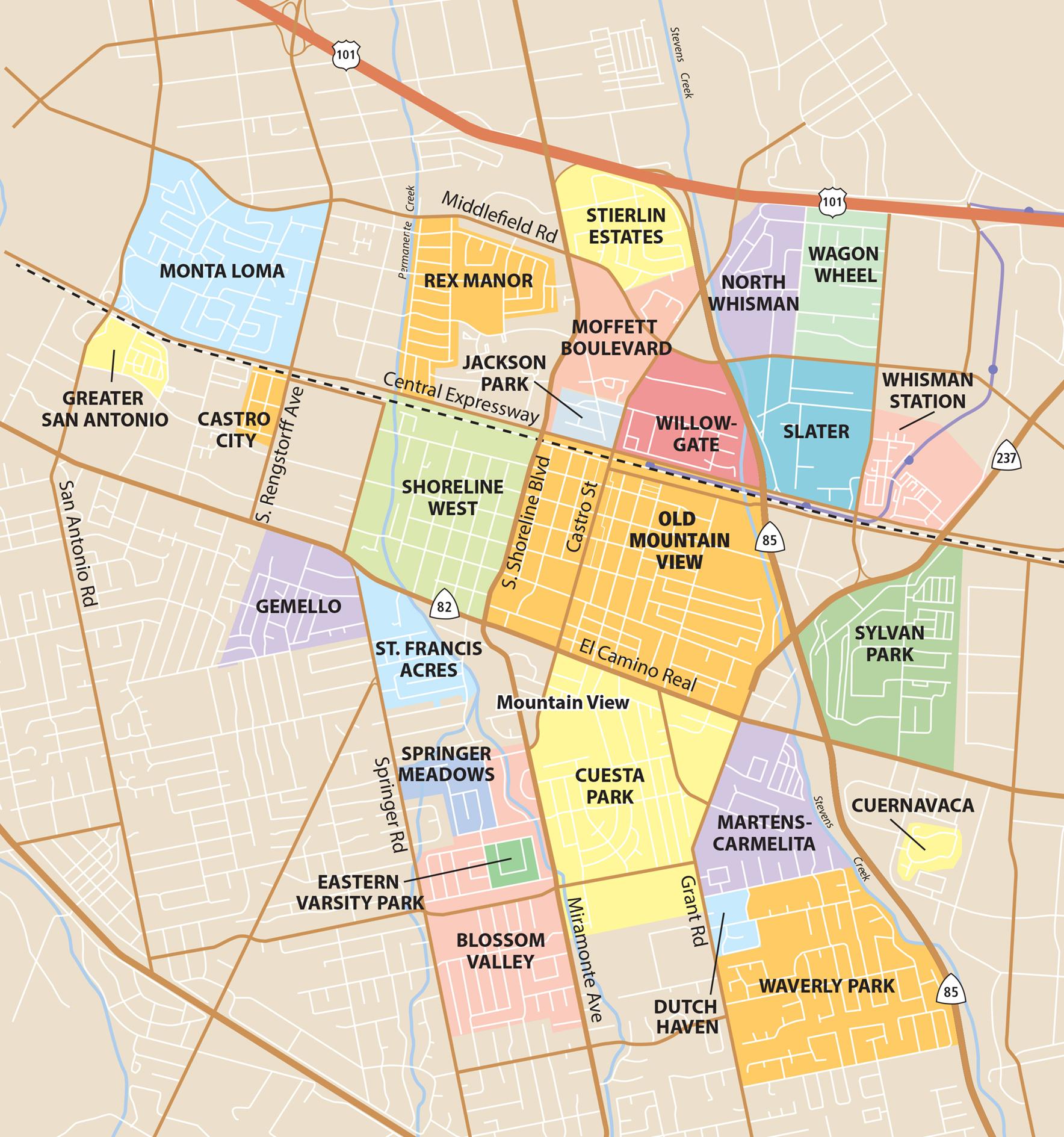 san antonio neighborhoods map Mountain View Neighborhoods News Palo Alto Online san antonio neighborhoods map