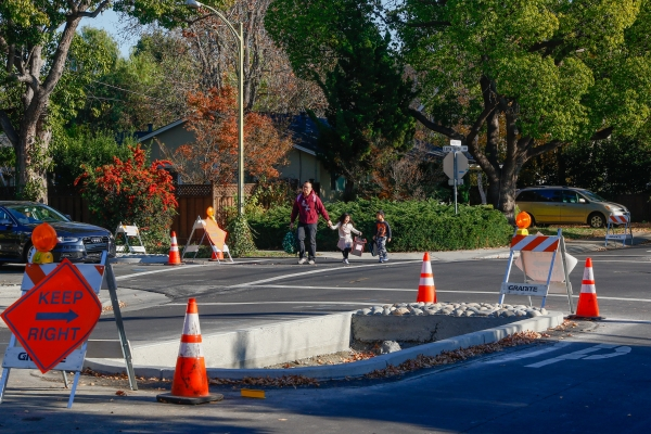 For new bike boulevard its not smooth sailing news palo alto pedestrians cross loma verde avenue at the intersection of ross road where new center lane islands have been constructed for traffic control malvernweather Images