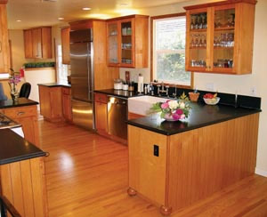 Three Odd Shaped Rooms Became One Large Kitchen Dining Area With Maple Cabin