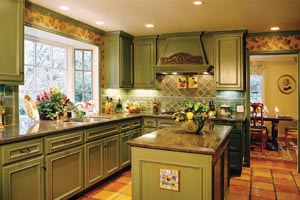 Kitchen Cabinet Design Online on Kitchen  The Owner Glazed The Cabinets Herself  To Match The Sage